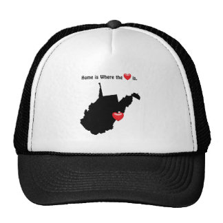 Está donde el hogar el corazón VIRGINIA OCCIDENTAL Gorras De Camionero
