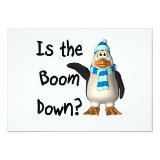 ¿Está el auge abajo? Con el pingüino Invitación 12,7 X 17,8 Cm