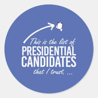 Ésta es la lista de confianza de los candidatos I Pegatina Redonda