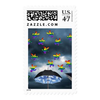 ¡Está lloviendo a hombres! Timbre Postal