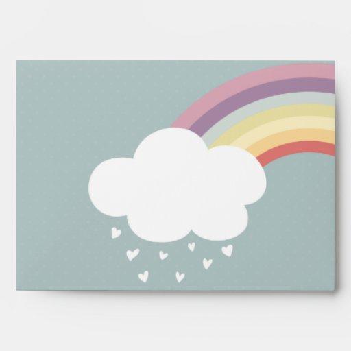 Está lloviendo corazones (hay un arco iris, sobres