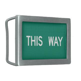Esta manera, placa de calle, Tejas, los E.E.U.U. Hebillas De Cinturon Rectangulares