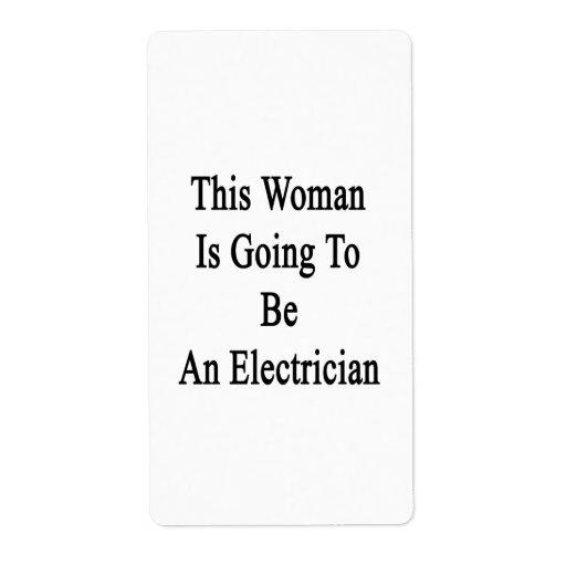 Esta mujer va a ser electricista etiquetas de envío