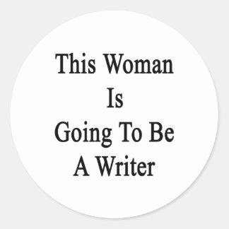 Esta mujer va a ser escritor pegatina redonda