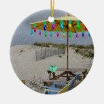 Está nevando en mi ornamento de la silla de playa ornamento de reyes magos