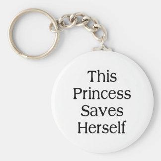 Esta princesa Saves Llavero Redondo Tipo Pin