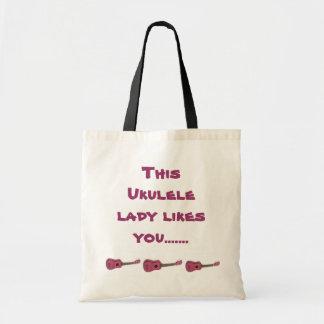Esta señora del ukulele tiene gusto de usted tote bolsa tela barata