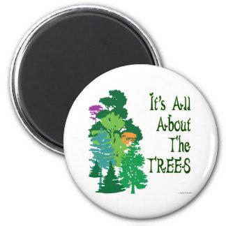 Está todo sobre el lema verde de los árboles imán redondo 5 cm