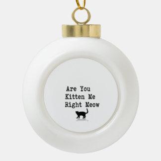 Está usted gatito yo maullido correcto adorno de cerámica en forma de bola