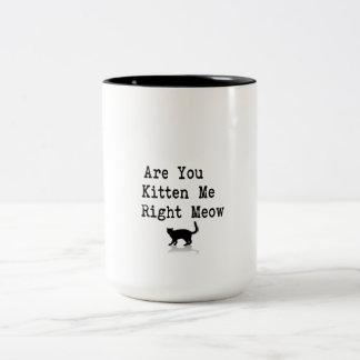 Está usted gatito yo maullido correcto taza de dos tonos