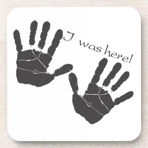 Estaba aquí práctico de costa del handprint posavaso