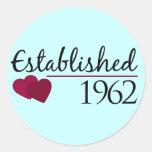 Establecido 1962 pegatina redonda