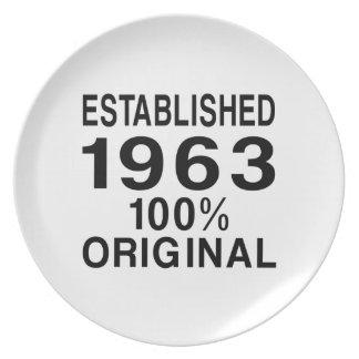 Establecido 1963 platos para fiestas