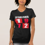 Establecido 1972 diseños del cumpleaños camisetas