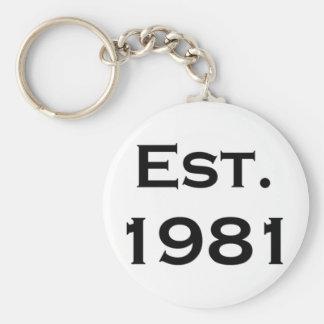 establecido 1981 llavero redondo tipo pin