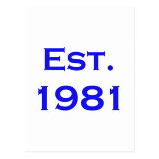 establecido 1981 postales