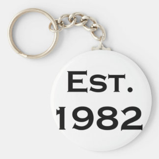 establecido 1982 llavero redondo tipo pin