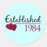 Establecido 1984 pegatina redonda