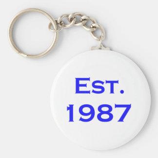 establecido 1987 llavero redondo tipo pin
