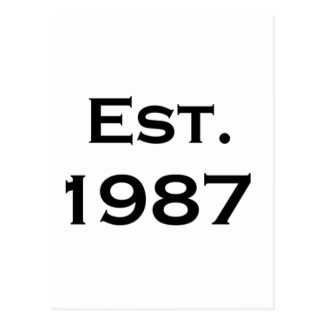 establecido 1987 tarjeta postal