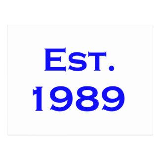 establecido 1989 tarjeta postal