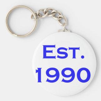 establecido 1990 llavero redondo tipo pin