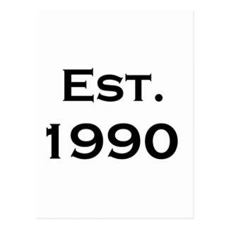establecido 1990 tarjetas postales
