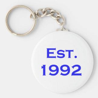 establecido 1992 llavero redondo tipo pin