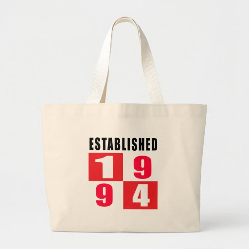 Establecido 1994 diseños del cumpleaños bolsa tela grande