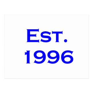 establecido 1996 tarjeta postal