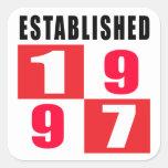 Establecido 1997 diseños del cumpleaños calcomanía cuadrada personalizada