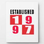 Establecido 1997 diseños del cumpleaños placas de plastico