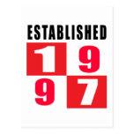Establecido 1997 diseños del cumpleaños postales