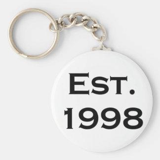 establecido 1998 llavero redondo tipo pin
