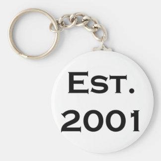 establecido 2001 llavero redondo tipo pin