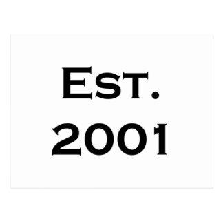 establecido 2001 tarjeta postal
