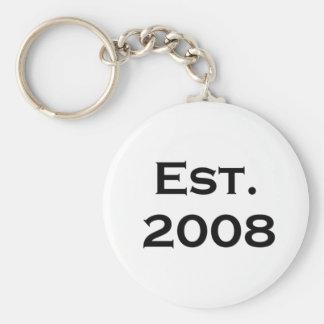 establecido 2008 llavero redondo tipo pin