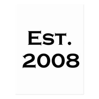 establecido 2008 tarjetas postales
