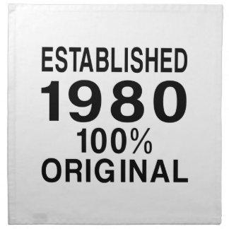 Establecido el an o 80 servilletas imprimidas