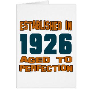 Establecido en 1926 tarjeta de felicitación