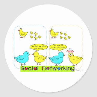 Establecimiento de una red social pegatina redonda