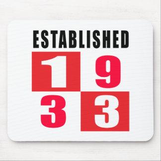 Established 1933 Birthday Designs Mouse Pad