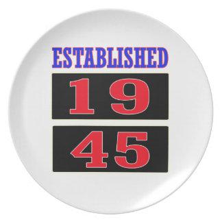 Established 1945 plates