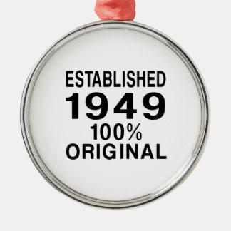 Established 1949 metal ornament