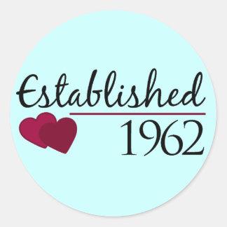 Established 1962 round stickers