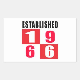 Established 1966 Birthday Designs Rectangular Stickers