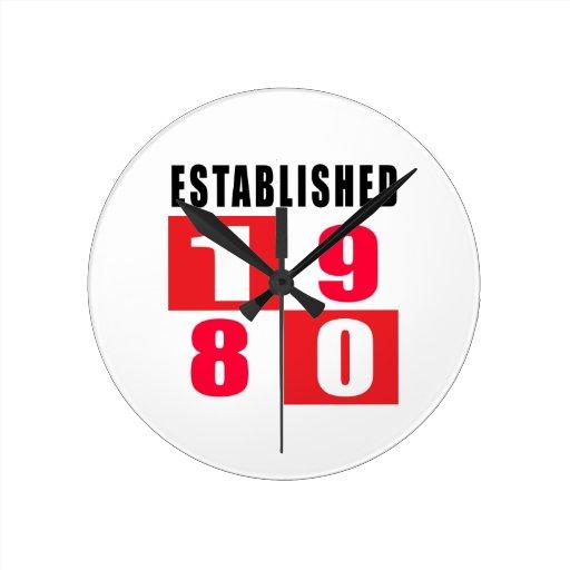 Established 1980 Birthday Designs Clock