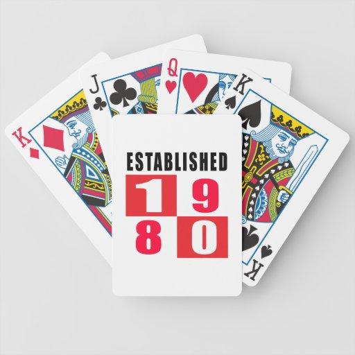 Established 1980 Birthday Designs Bicycle Playing Cards