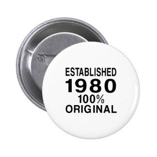 Established 1980 pinback button