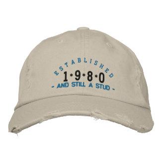 Established 1980 Stud Embroidery Hat Embroidered Baseball Cap